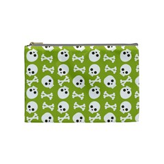 Skull Bone Mask Face White Green Cosmetic Bag (Medium)
