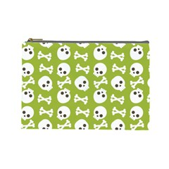 Skull Bone Mask Face White Green Cosmetic Bag (Large)