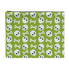Skull Bone Mask Face White Green Cosmetic Bag (XL)