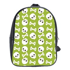 Skull Bone Mask Face White Green School Bag (Large)