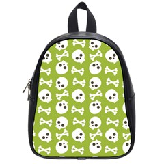 Skull Bone Mask Face White Green School Bag (Small)