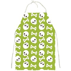 Skull Bone Mask Face White Green Full Print Aprons