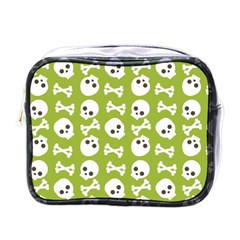 Skull Bone Mask Face White Green Mini Toiletries Bags