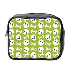 Skull Bone Mask Face White Green Mini Toiletries Bag 2-Side