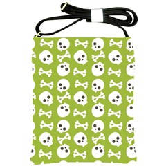 Skull Bone Mask Face White Green Shoulder Sling Bags