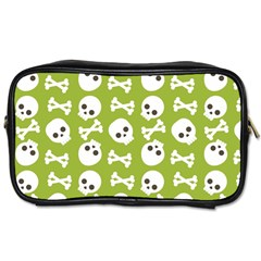 Skull Bone Mask Face White Green Toiletries Bags 2-Side
