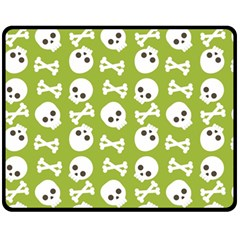 Skull Bone Mask Face White Green Fleece Blanket (Medium)