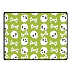 Skull Bone Mask Face White Green Fleece Blanket (Small)