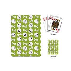 Skull Bone Mask Face White Green Playing Cards (mini)  by Alisyart