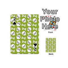 Skull Bone Mask Face White Green Playing Cards 54 (mini)  by Alisyart