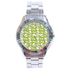 Skull Bone Mask Face White Green Stainless Steel Analogue Watch