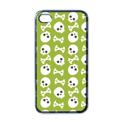 Skull Bone Mask Face White Green Apple iPhone 4 Case (Black)