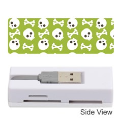 Skull Bone Mask Face White Green Memory Card Reader (Stick)