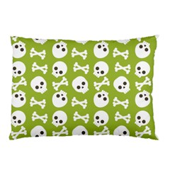 Skull Bone Mask Face White Green Pillow Case (Two Sides)