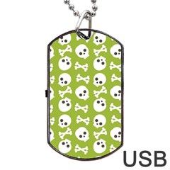 Skull Bone Mask Face White Green Dog Tag USB Flash (One Side)