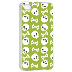 Skull Bone Mask Face White Green Apple iPhone 4/4s Seamless Case (White)