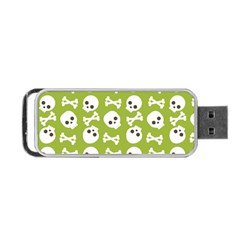 Skull Bone Mask Face White Green Portable USB Flash (One Side)
