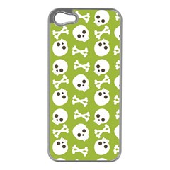 Skull Bone Mask Face White Green Apple iPhone 5 Case (Silver)