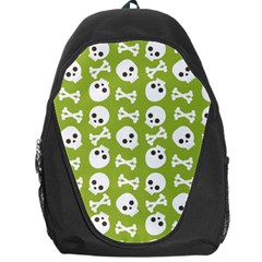 Skull Bone Mask Face White Green Backpack Bag