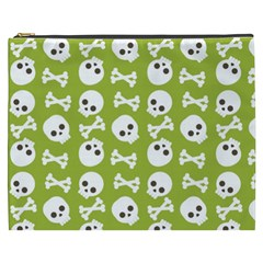 Skull Bone Mask Face White Green Cosmetic Bag (xxxl)