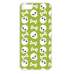 Skull Bone Mask Face White Green Apple iPhone 5 Seamless Case (White)