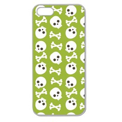 Skull Bone Mask Face White Green Apple Seamless iPhone 5 Case (Clear)