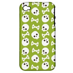 Skull Bone Mask Face White Green Apple iPhone 4/4S Hardshell Case (PC+Silicone)