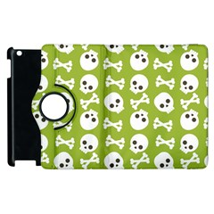 Skull Bone Mask Face White Green Apple iPad 2 Flip 360 Case