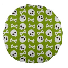 Skull Bone Mask Face White Green Large 18  Premium Round Cushions