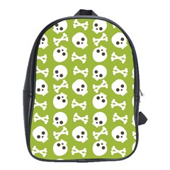 Skull Bone Mask Face White Green School Bag (XL)