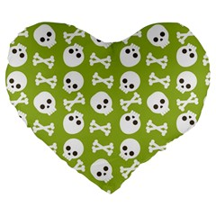 Skull Bone Mask Face White Green Large 19  Premium Heart Shape Cushions