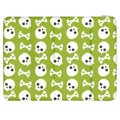 Skull Bone Mask Face White Green Samsung Galaxy Tab 7  P1000 Flip Case
