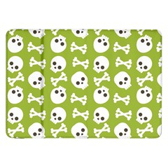 Skull Bone Mask Face White Green Samsung Galaxy Tab 8.9  P7300 Flip Case