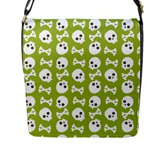 Skull Bone Mask Face White Green Flap Messenger Bag (L)