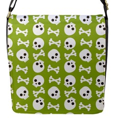 Skull Bone Mask Face White Green Flap Messenger Bag (s) by Alisyart