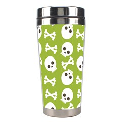 Skull Bone Mask Face White Green Stainless Steel Travel Tumblers