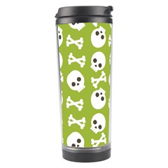 Skull Bone Mask Face White Green Travel Tumbler