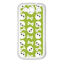 Skull Bone Mask Face White Green Samsung Galaxy S3 Back Case (White)