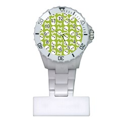 Skull Bone Mask Face White Green Plastic Nurses Watch