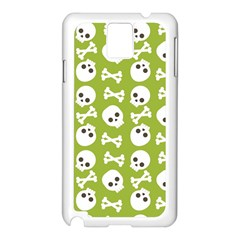 Skull Bone Mask Face White Green Samsung Galaxy Note 3 N9005 Case (White)