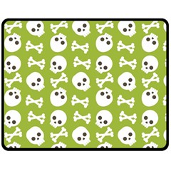 Skull Bone Mask Face White Green Double Sided Fleece Blanket (Medium)
