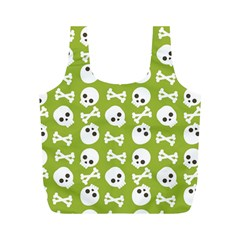 Skull Bone Mask Face White Green Full Print Recycle Bags (M)
