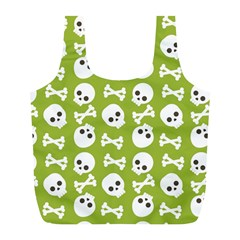 Skull Bone Mask Face White Green Full Print Recycle Bags (L)