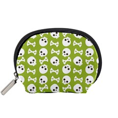 Skull Bone Mask Face White Green Accessory Pouches (Small)