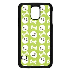 Skull Bone Mask Face White Green Samsung Galaxy S5 Case (Black)