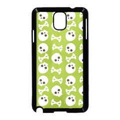 Skull Bone Mask Face White Green Samsung Galaxy Note 3 Neo Hardshell Case (Black)