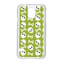 Skull Bone Mask Face White Green Samsung Galaxy S5 Case (White)