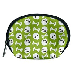 Skull Bone Mask Face White Green Accessory Pouches (Medium)