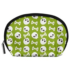 Skull Bone Mask Face White Green Accessory Pouches (large)  by Alisyart