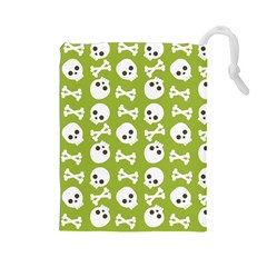 Skull Bone Mask Face White Green Drawstring Pouches (large)